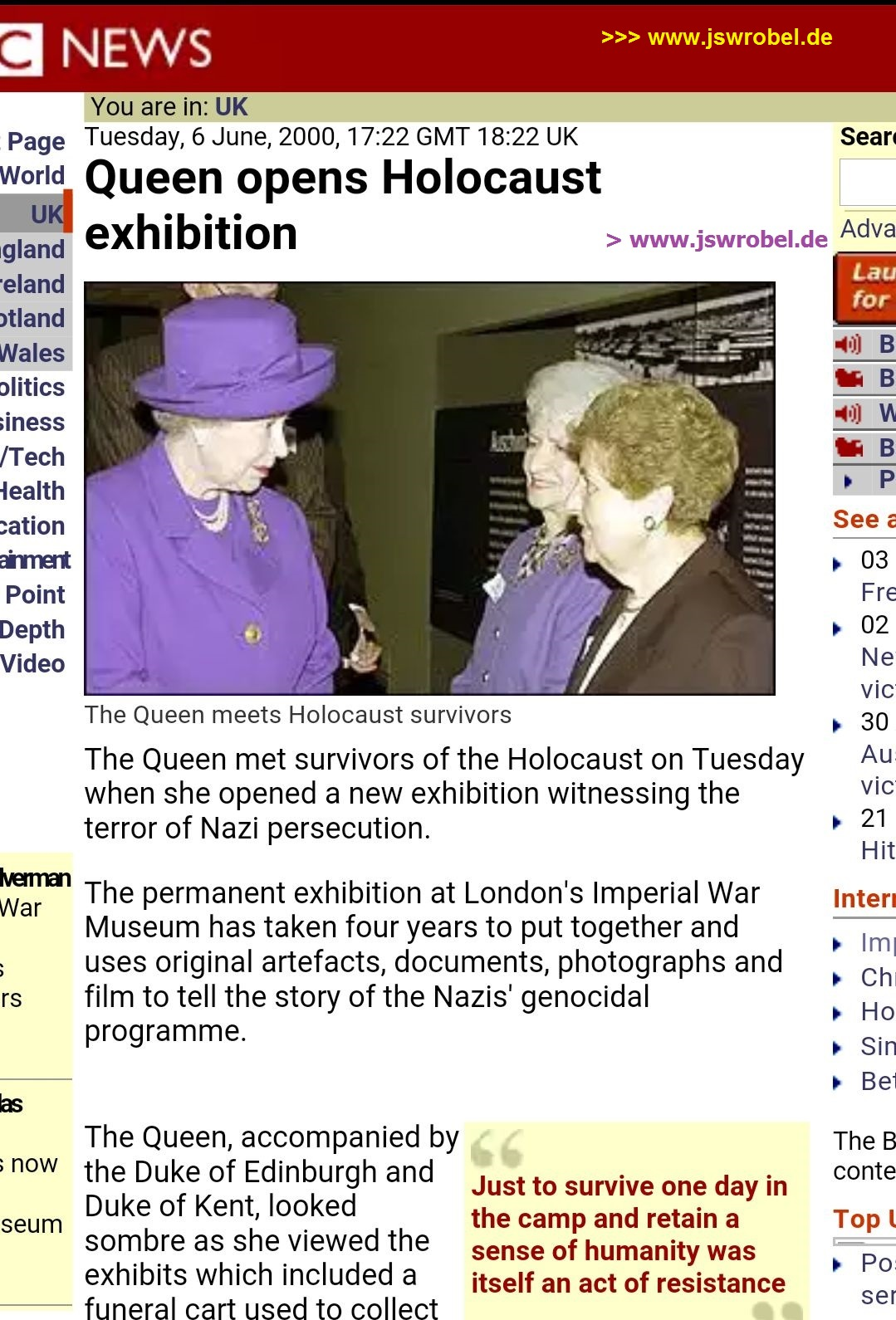 BBC News: Queen opens Holocaust Exhibition (6 June 2000)